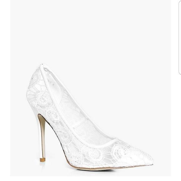 c317fa64ac8 White Lace Pumps Stilettos Heels UK 7 US 9